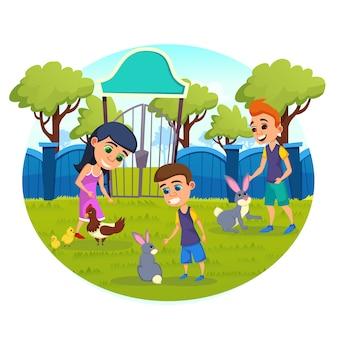 Kinderen strelen, voeden en spelen met dieren