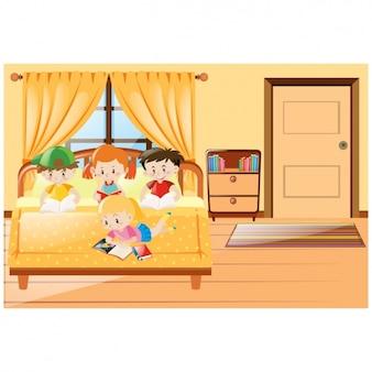 Kinderen studeren in de kamer