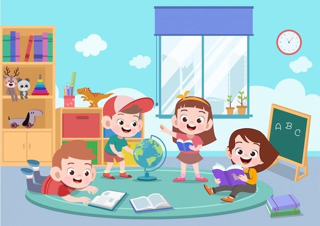 Kinderen studeren samen vectorillustratie