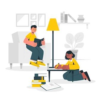 Kinderen studeren vanuit huis concept illustratie
