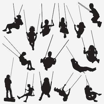 Kinderen swing silhouetten