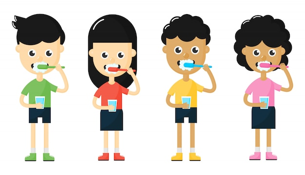 Kinderen tanden poetsen