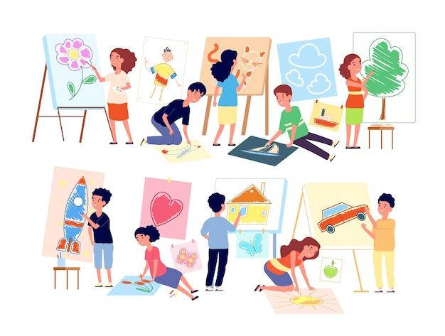 Kinderen tekenen afbeeldingen. kinderen die ambacht spelen, jongen die kunst maakt. platte kind in de kleuterklas van de kleuterschool