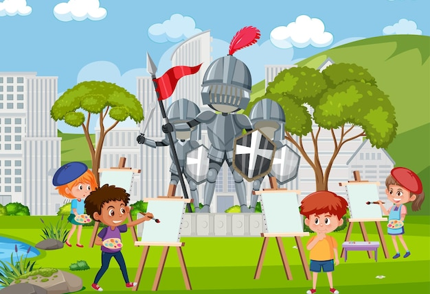 Kinderen tekenen ridderstandbeeld in het park