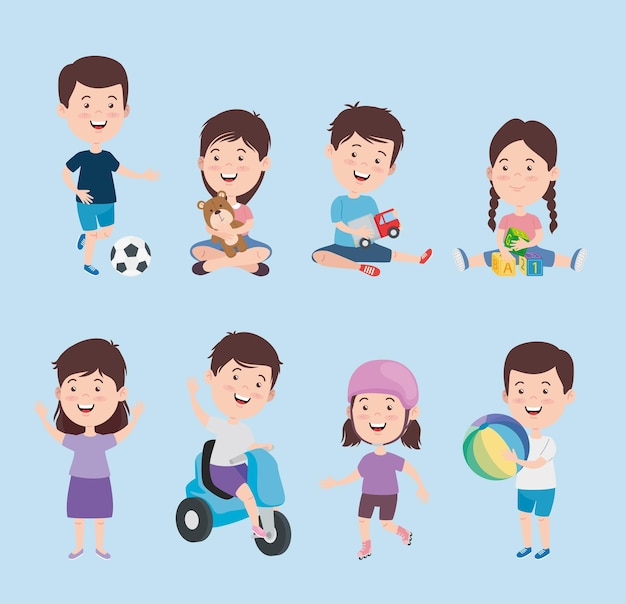 Kinderen tekenfilms met speelgoed icon set