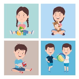 Kinderen tekenfilms met speelgoed icoon collectie