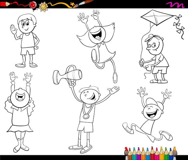 Kinderen tekens kleurplaat