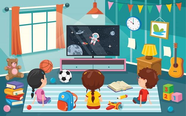 Kinderen televisie kijken in een kamer
