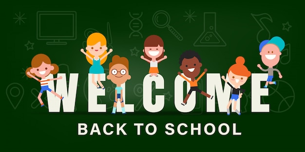 Kinderen terug naar school banner illustratie