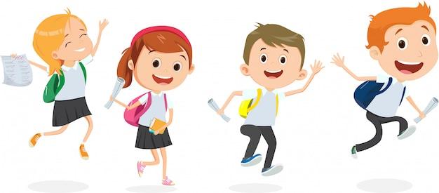 Kinderen terug naar school illustratie