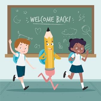 Kinderen terug naar school met getrokken