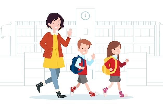 Kinderen terug naar school met ouders illustratie