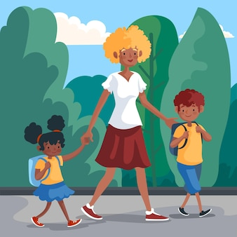 Kinderen terug naar school met ouders