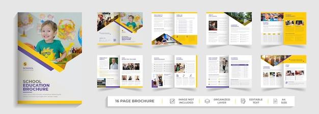Kinderen terug naar school onderwijs toelating tweevoudige brochure sjabloon bedrijfsprofiel ontwerp
