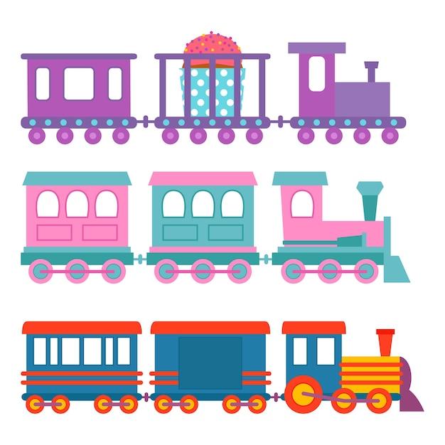 Kinderen trein reizen spoorweg vervoer speelgoed locomotief illustratie.