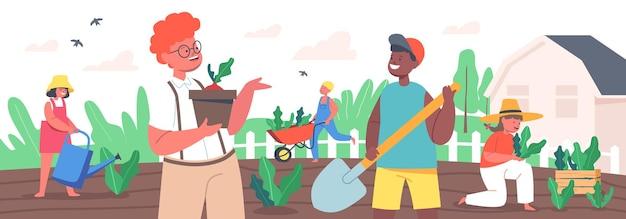 Kinderen tuinieren werk. kleine tuinmannen jongens en meisjes planten en verzorgen van planten. happy kids-personages die in de zomertuin werken, water geven, graven, struiken verzorgen. cartoon mensen vectorillustratie