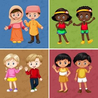 Kinderen uit verschillende landen op vier achtergrond