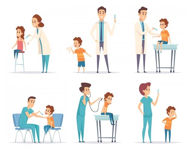 Kinderen vaccineren. arts geeft injectie aan kinderen medische gezondheidszorg concept cartoon illustraties