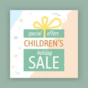 Kinderen vakantie verkoop social media post-sjabloon voor spandoek