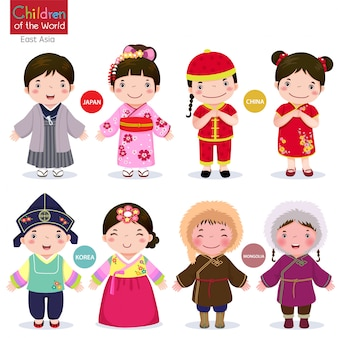 Kinderen van de wereld japan, china, korea en mongolië