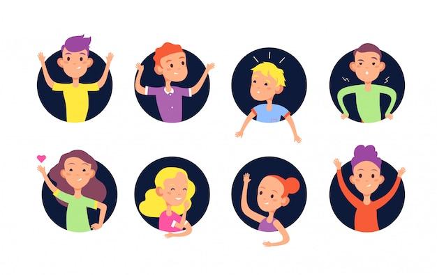 Kinderen verbergen. leuke beledigende kinderen jongens en meisjes verstoppen zich in muur gaten platte vector clipart