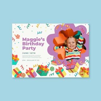 Kinderen verjaardag kaartsjabloon