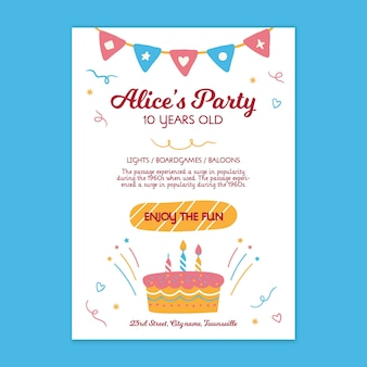 Kinderen verjaardag poster sjabloon