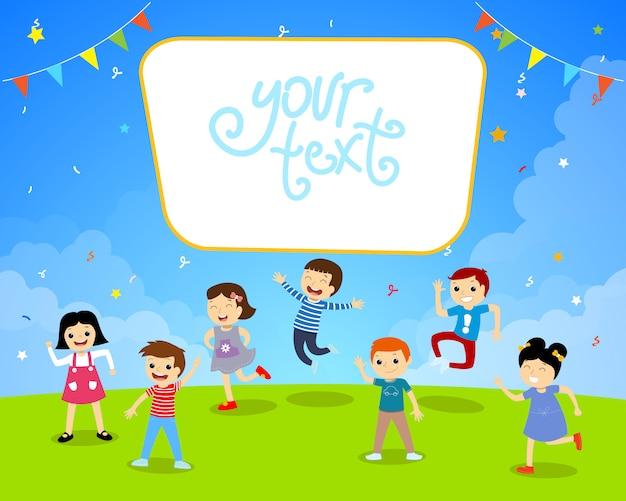 Kinderen verjaardag tuin partij illustratie
