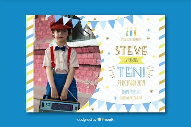 Kinderen verjaardag uitnodiging sjabloon met afbeelding