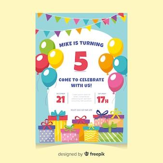 Kinderen verjaardag uitnodiging sjabloon