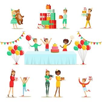 Kinderen verjaardagsfeestje set scènes