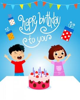 Kinderen verjaardagsfeestje vectoral illustratie