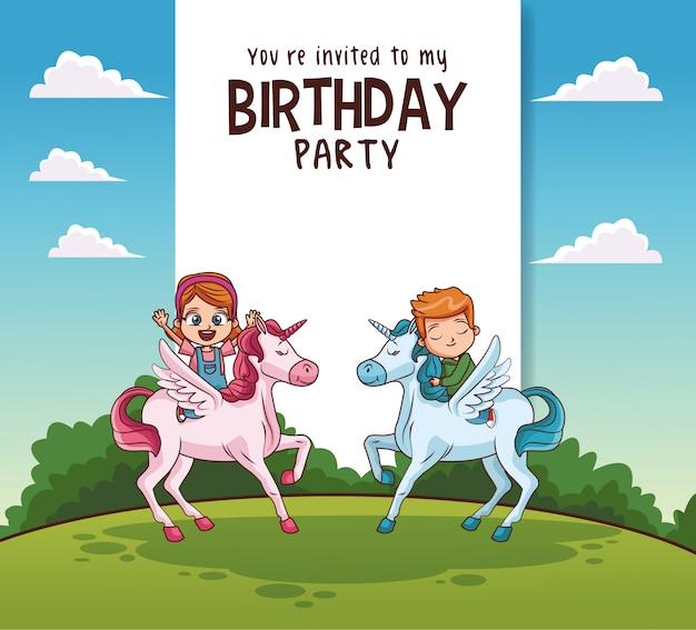 Kinderen verjaardagspartij kaart uitnodiging