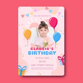 Kinderen verjaardagsuitnodiging sjabloon