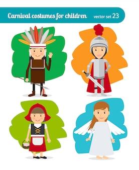 Kinderen verkleed als injun en ridder