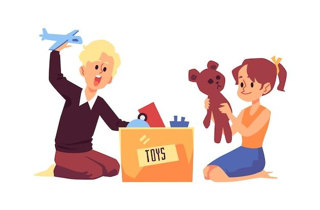 Kinderen verpakken oud speelgoed in doos platte cartoon afbeelding