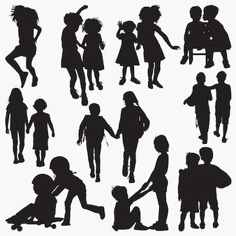 Kinderen vriendschap silhouetten