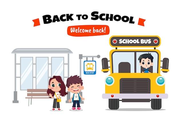 Kinderen wachten schoolbus