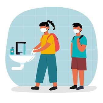 Kinderen wassen hun handen op school Premium Vector
