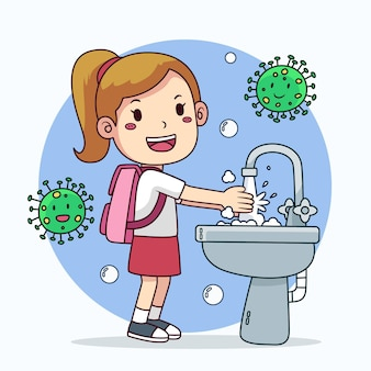 Kinderen wassen hun handen op school