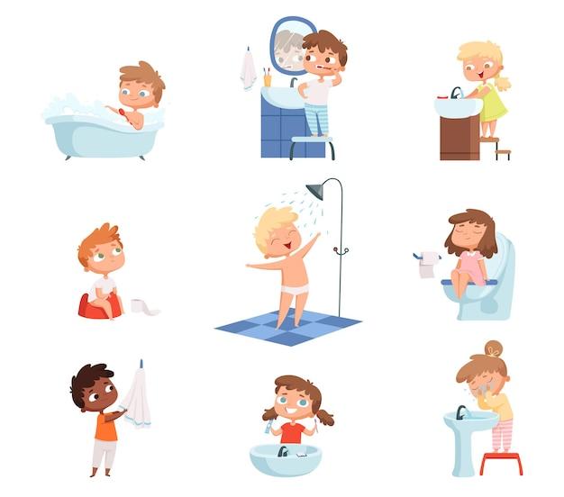Kinderen wassen. tandenpoetsen toilethygiënezeep voor de dagelijkse routine van kinderen.