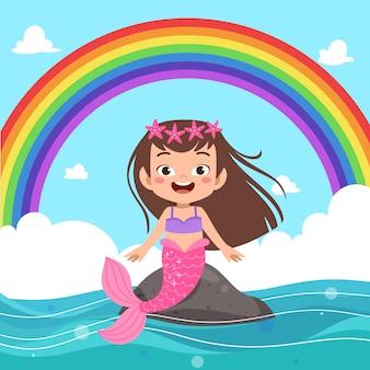Kinderen zeemeermin regenboog
