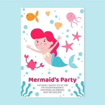Kinderen zeemeermin verjaardagsuitnodiging