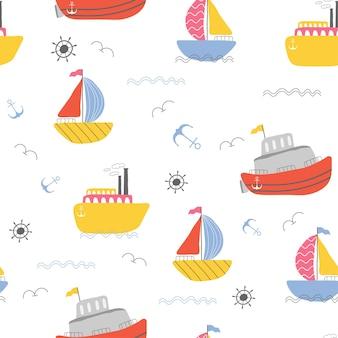 Kinderen zeilboot naadloos patroonontwerp