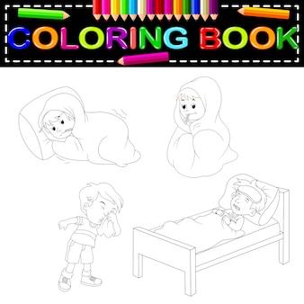 Kinderen ziek kleurboek