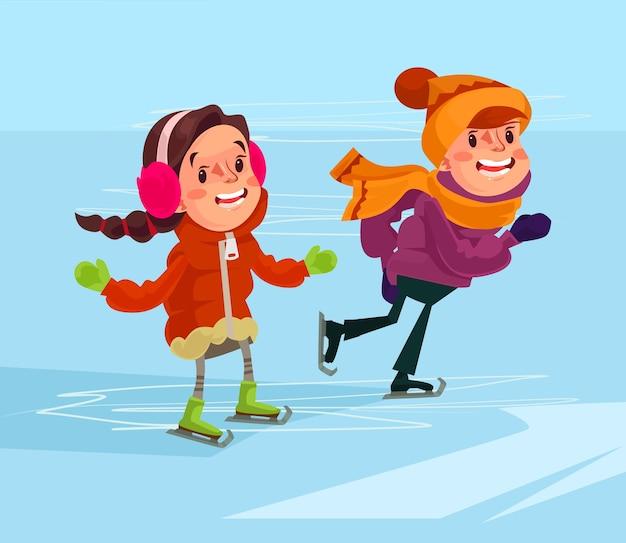 Kinderen zijn aan het schaatsen.