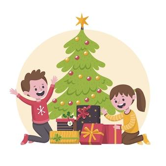 Kinderen zijn blij na het krijgen van kerstcadeaus