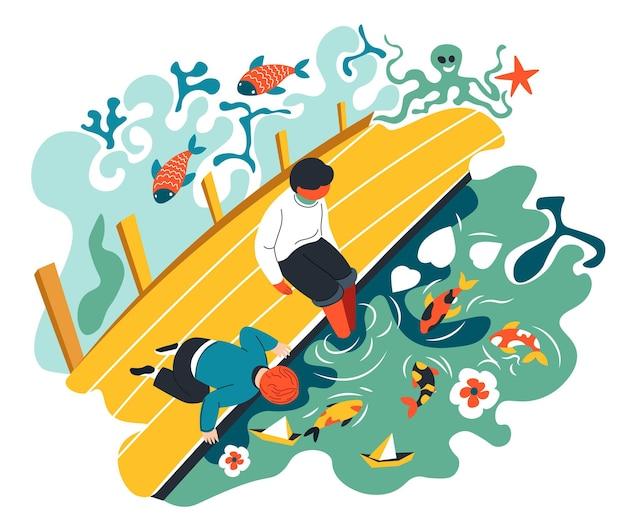 Kinderen zitten op houten brug in de tuin spelen door koi vissen in de vijver. kinderen op vakantie of in het weekend, buiten vrije tijd en plezier van jongens. flora en fauna, eenheid met de natuur. vector in vlakke stijl