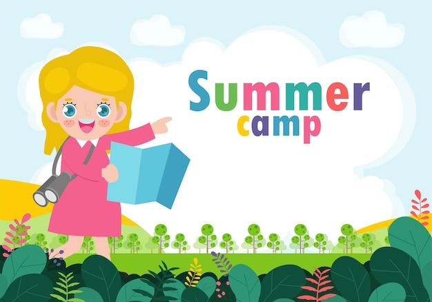 Kinderen zomerkamp achtergrond onderwijs banner sjabloon