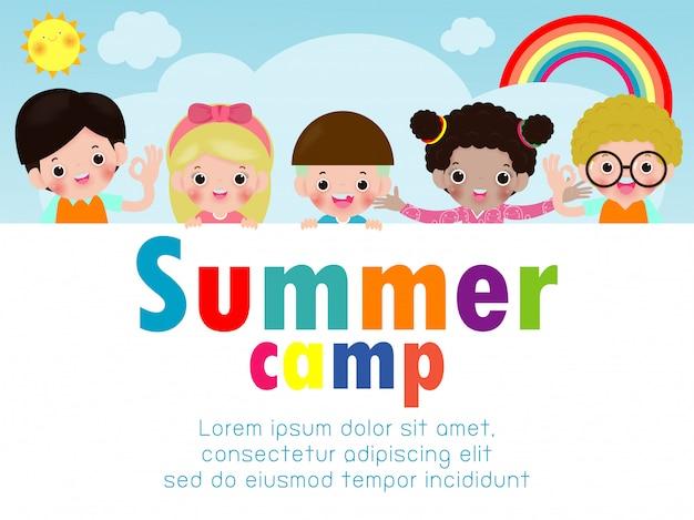 Kinderen zomerkamp onderwijs sjabloon